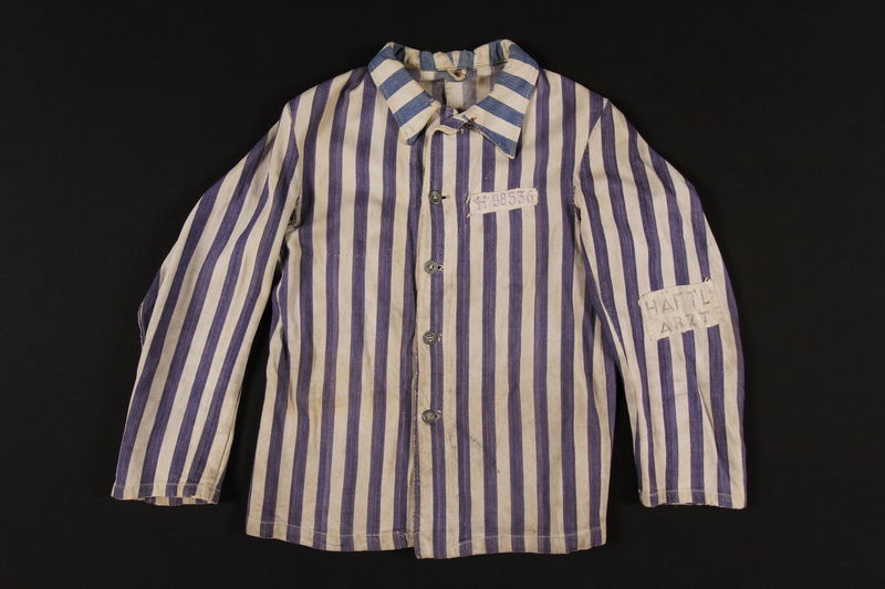 2004.554.1 front Concentration camp uniform jacket worn by a non-Jewish doctor/resistance member
