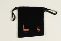 2004.576.2 back Black velvet tefillin pouch embroidered BG rescued after Kristallnacht and recovered postwar  Click to enlarge