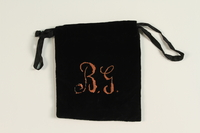 2004.576.2 front Black velvet tefillin pouch embroidered BG rescued after Kristallnacht and recovered postwar  Click to enlarge