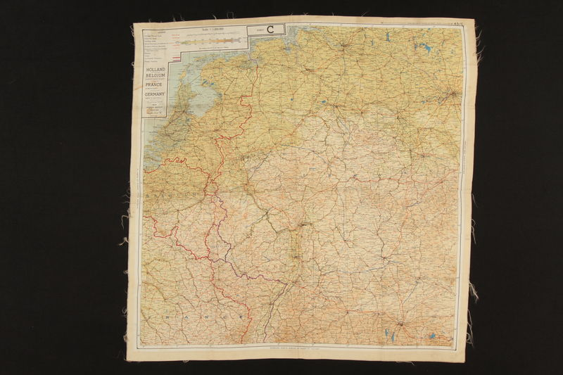 2003.449.2 front Two-sided silk escape map of Western Europe acquired by German Jewish US soldier
