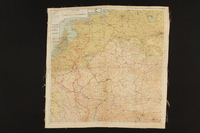 2003.449.2 front Two-sided silk escape map of Western Europe acquired by German Jewish US soldier  Click to enlarge