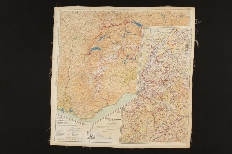2003.449.2 back Two-sided silk escape map of Western Europe acquired by German Jewish US soldier