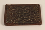 Brown leather wallet with inlaid floral decorations handcrafted and used in the Łódź Ghetto