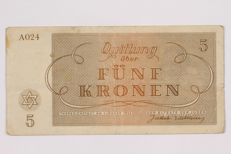 2004.566.2 back Theresienstadt ghetto-labor camp scrip, 5 kronen note, issued to a German Jewish inmate