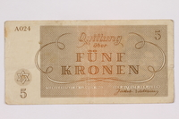 2004.566.2 back Theresienstadt ghetto-labor camp scrip, 5 kronen note, issued to a German Jewish inmate  Click to enlarge