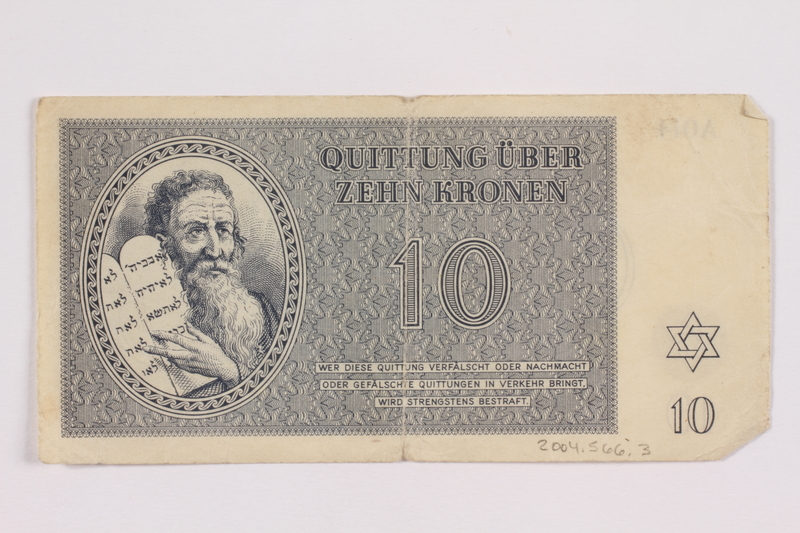 2004.566.3 front Theresienstadt ghetto-labor camp scrip, 10 kronen note, issued to a German Jewish inmate