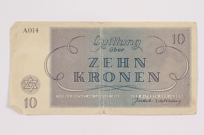 2004.566.3 back Theresienstadt ghetto-labor camp scrip, 10 kronen note, issued to a German Jewish inmate