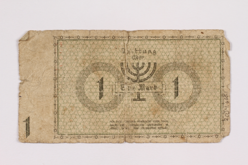 2004.660.1 back Łódź (Litzmannstadt) ghetto scrip, 1 mark note, given to a US soldier by a refugee