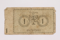2004.660.1 back Łódź (Litzmannstadt) ghetto scrip, 1 mark note, given to a US soldier by a refugee  Click to enlarge