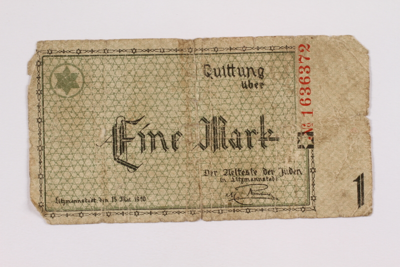 2004.660.1 front Łódź (Litzmannstadt) ghetto scrip, 1 mark note, given to a US soldier by a refugee