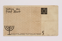 2004.660.2 back Łódź (Litzmannstadt) ghetto scrip, 5 mark note, given to a US soldier by a refugee  Click to enlarge