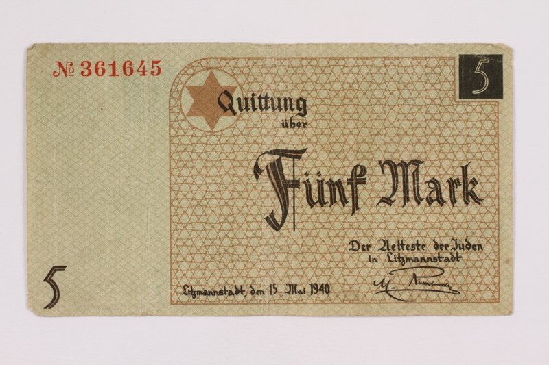 2004.660.2 front Łódź (Litzmannstadt) ghetto scrip, 5 mark note, given to a US soldier by a refugee