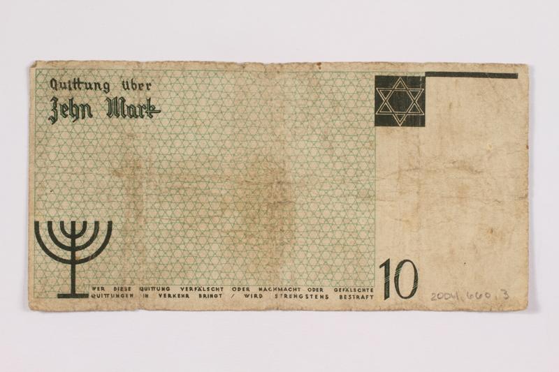 2004.660.3 back Łódź (Litzmannstadt) ghetto scrip, 10 [zehn] mark note, given to a US soldier by a refugee