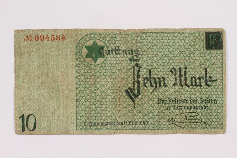 2004.660.3 front Łódź (Litzmannstadt) ghetto scrip, 10 [zehn] mark note, given to a US soldier by a refugee