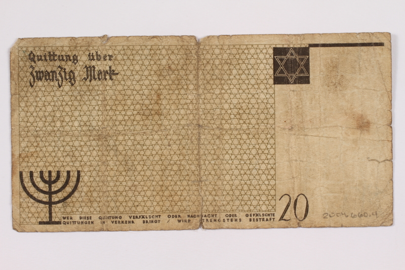 2004.660.4 back Łódź (Litzmannstadt) ghetto scrip, 20 mark note, given to a US soldier by a refugee