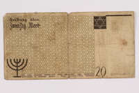 2004.660.4 back Łódź (Litzmannstadt) ghetto scrip, 20 mark note, given to a US soldier by a refugee  Click to enlarge