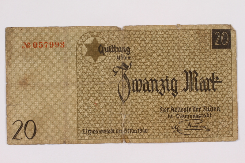 2004.660.4 front Łódź (Litzmannstadt) ghetto scrip, 20 mark note, given to a US soldier by a refugee