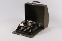 2004.661.1 a-b open Continental typewriter with a green wooden cover used by Martin Niemoeller  Click to enlarge