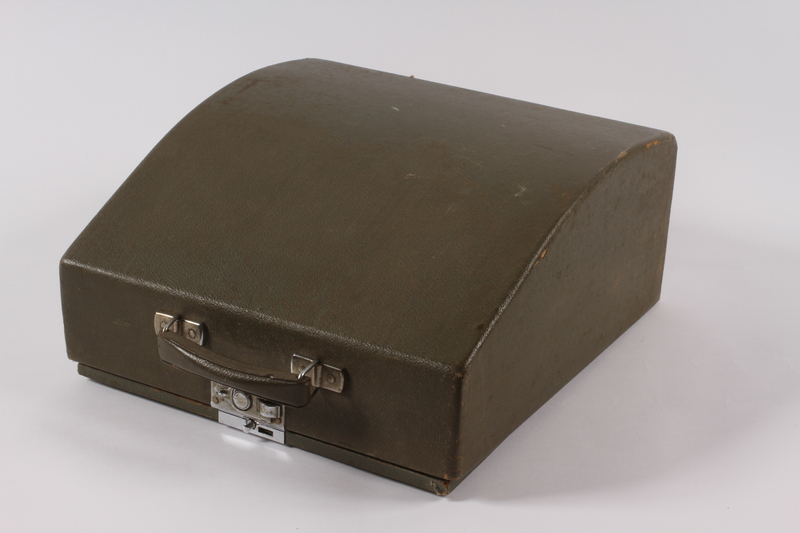 2004.661.1 a-b front Continental typewriter with a green wooden cover used by Martin Niemoeller