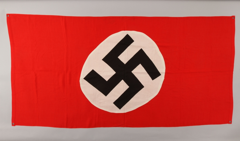 1990.333.31 front Unused Nazi banner with a swastika found by a US soldier