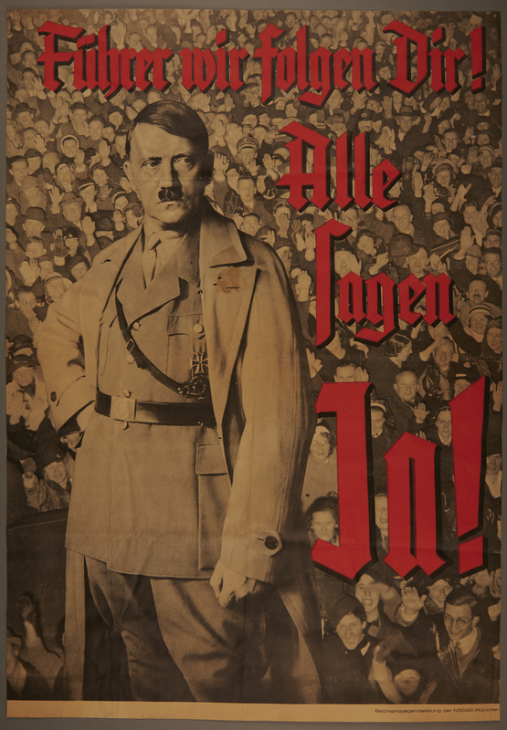 2004.686.2 Referendum poster for Hitler's election as Führer featuring Hitler superimposed over a large crowd