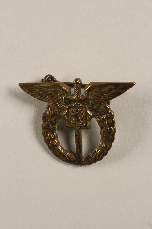 2004.692.4 front Czech Air Force pilot badge issued to a Jewish veteran