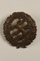 2004.692.5 front Wreath shaped badge owned by a Jewish veteran of the Air Force for the Czech government in exile  Click to enlarge