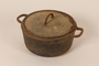 Cast iron dutch oven pot and lid from cafe used as rendezvous point by French resistance