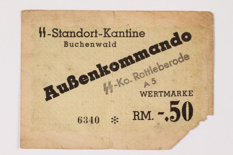 1992.226.1 front Buchenwald Aussenkommando scrip for SS Ko. Rottleberode, -.50 Reichsmark