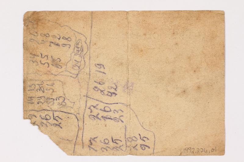 1992.226.1 back Buchenwald Aussenkommando scrip for SS Ko. Rottleberode, -.50 Reichsmark