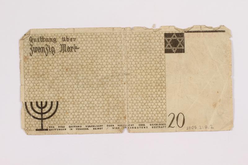 2005.218.2 back Łódź ghetto scrip, 20 mark note