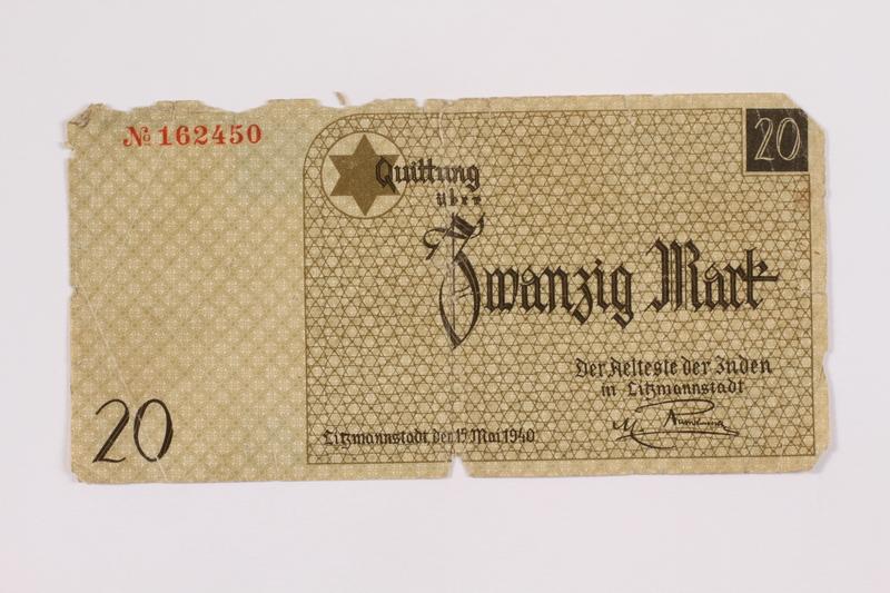 2005.218.2 front Łódź ghetto scrip, 20 mark note