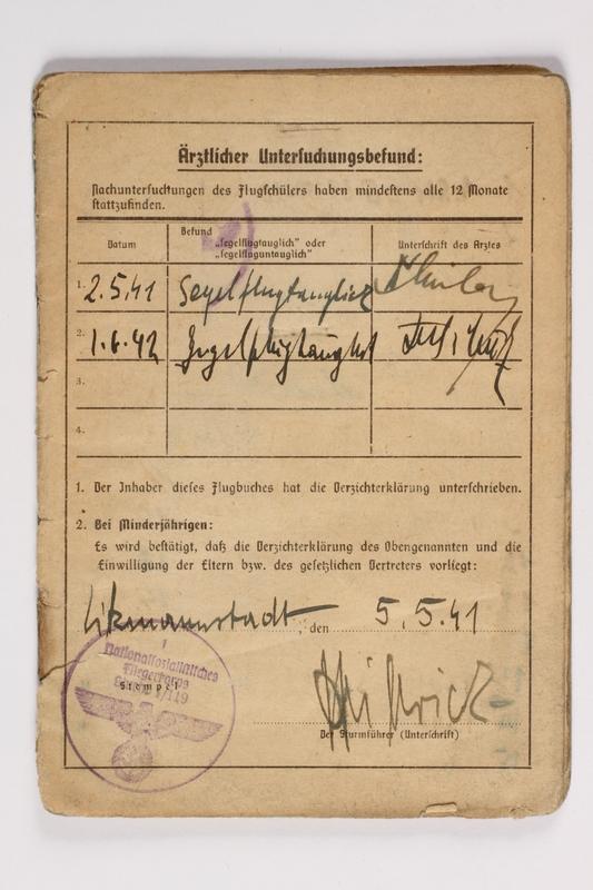 1987.90.95 front Nationalsozialistisches Fliegerkorps flight logbook with entries