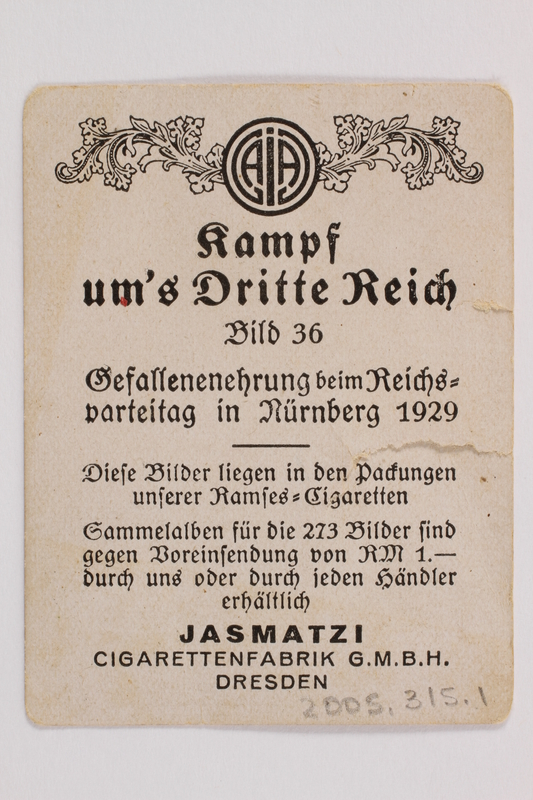 2005.315.1 back Cigarette card depicting Nazi Party Conference