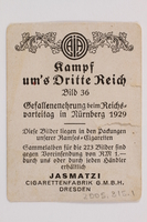 2005.315.1 back Cigarette card depicting Nazi Party Conference  Click to enlarge