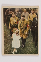 2005.315.2 front Cigarette card with image of Hitler receiving flowers  Click to enlarge