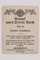 2005.315.2 back Cigarette card with image of Hitler receiving flowers  Click to enlarge