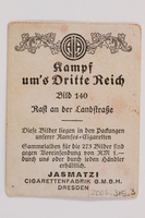2005.315.3 front Cigarette card with image of Hitler and Nazi Party members in an open car  Click to enlarge