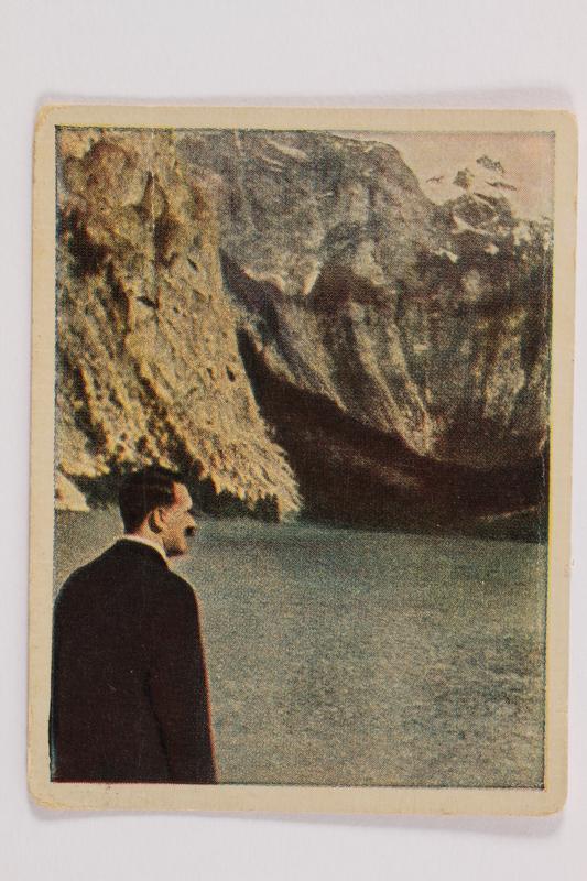 2005.315.4 front Cigarette card depicting Hitler at Lake Konigssee