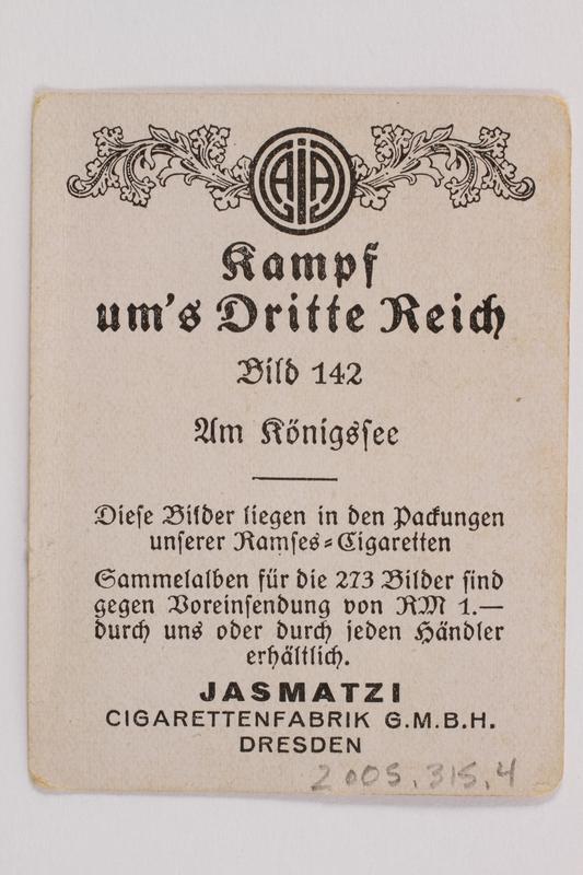 2005.315.4 back Cigarette card depicting Hitler at Lake Konigssee