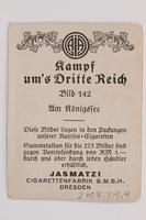 2005.315.4 back Cigarette card depicting Hitler at Lake Konigssee  Click to enlarge