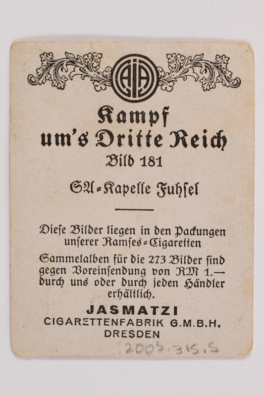 2005.315.5 back Cigarette card with image of Nazi party band in performance