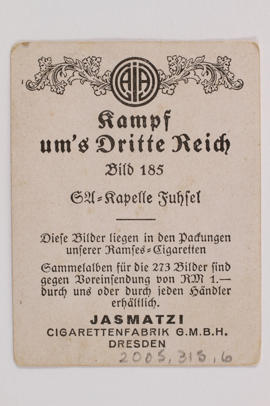 2005.315.6 back Cigarette card with image of Nazi party band in performance