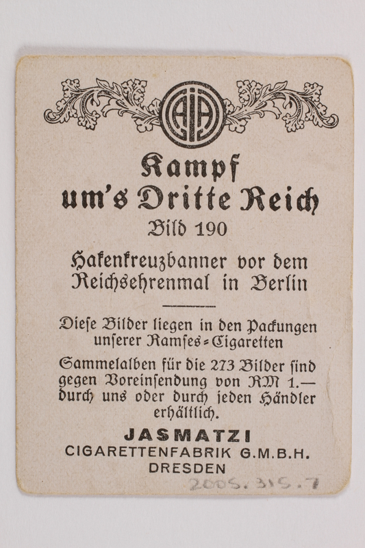 2005.315.7 back Cigarette card with image of Nazi military parade