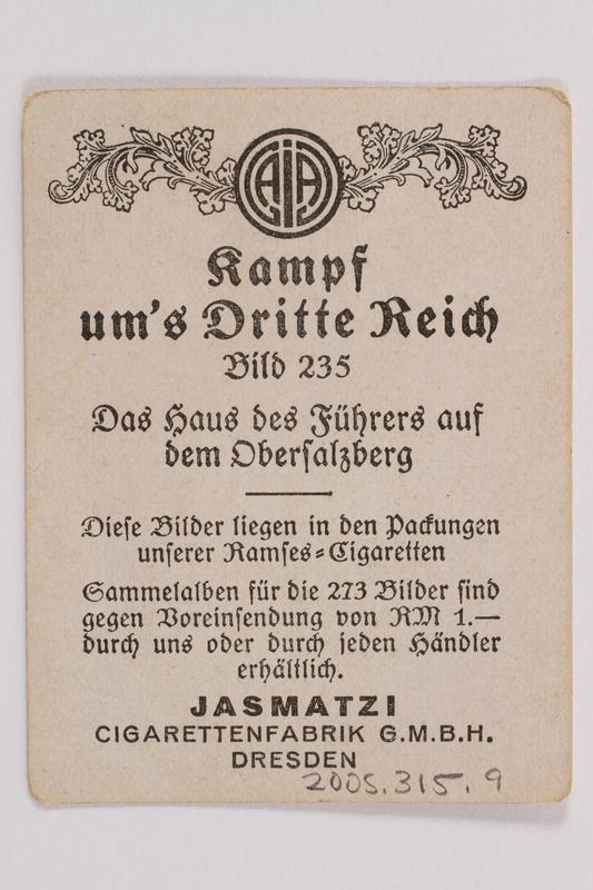 2005.315.9 back Cigarette card with image of Berghof, Hitler's Bavarian retreat