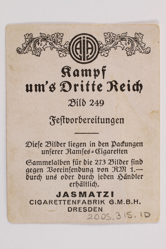 2005.315.10 back Cigarette card with image of a Nazi Party festival