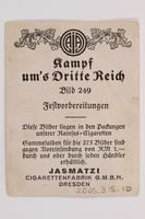 2005.315.10 back Cigarette card with image of a Nazi Party festival  Click to enlarge