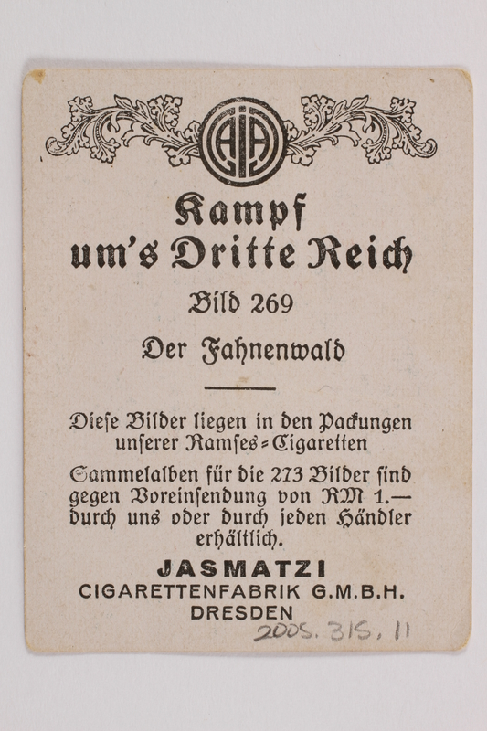 2005.315.11 back Forest of Nazi Flags cigarette card