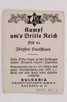 2005.315.13 back Cigarette card depicting Hitler at Nazi Party headquarters in Munich  Click to enlarge