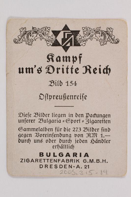 2005.315.14 back Cigarette card depicting Hitler traveling in Prussia